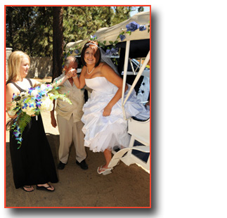 Bride arrives at her destination and exits the horse carriage