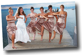 Bride and her bridesmaids on the pier