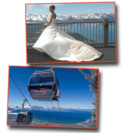 The bride poses for a photo on the Heavenly gondola midway station