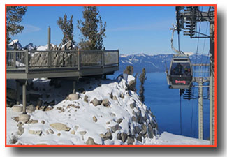 View of the gondola and Lake Tahoe from the observation deck