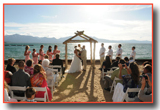 A ceremony taking place at Lakeside Beach