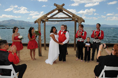 The wedding party after the ceremony at Lakeside Beach in South Lake Tahoe