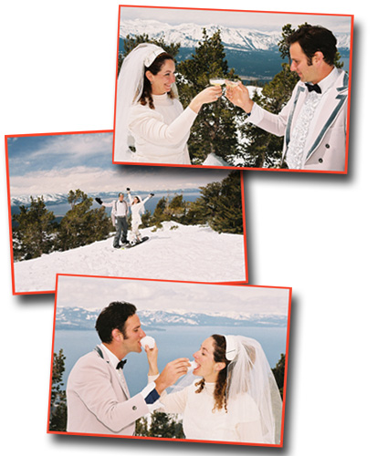 Celebrating after their wedding atop Heavenly Mountain