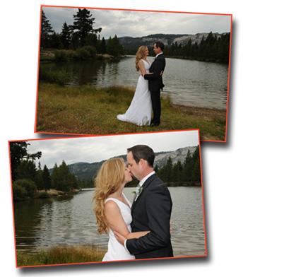 The married couple embrace in front of Lake Baron at Tahoe Paradise Park