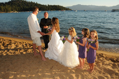A ceremony being conducted on Zephyr Cove Beach in Tahoe