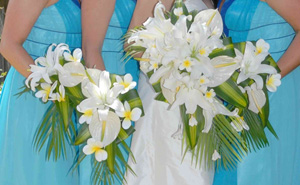 Bride and bridesmaids floral arrangements
