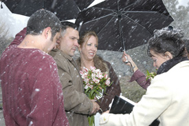 The ceremony takes place regardless of the weather in Lake Tahoe