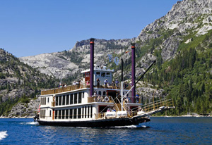 Tour Tahoe aboard one of the two paddlewheel boats, the MS Dixie or Tahoe Queen
